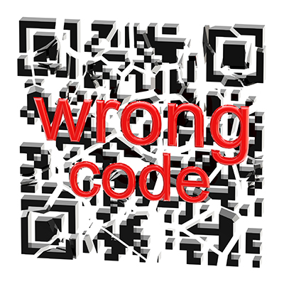 Wrong QR code broken into pieces isolated