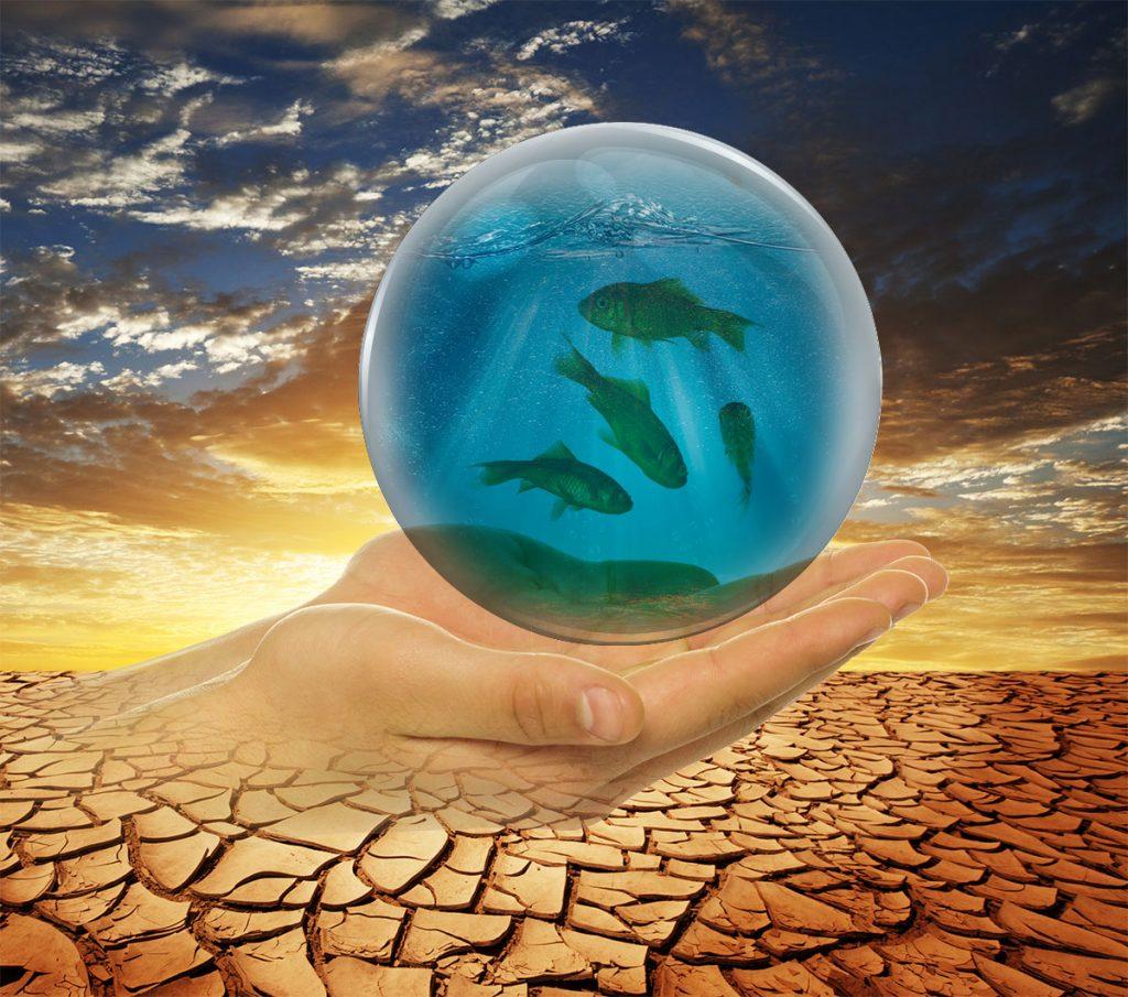 Kugle af vand holdt af hænder i ørken
