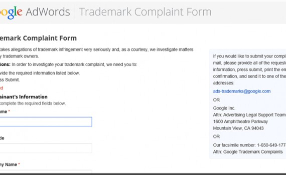 Google trademark registrering